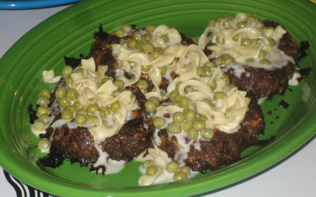 Meatloaf Nests Filled With Creamed Peas