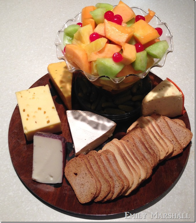 fruit salad and cheese plate