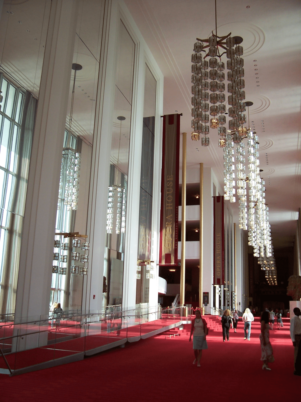 Grand Foyer of the Kennedy Center for the Performing Arts in Washington D.C, 1971.