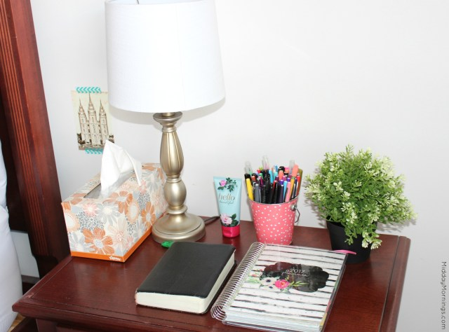 I keep my Mothers Who Know Mormon Mom Planner on my nightstand. I look at each morning to help keep me on track for the day and each night to organize the next day's tasks. | MiddayMornings.