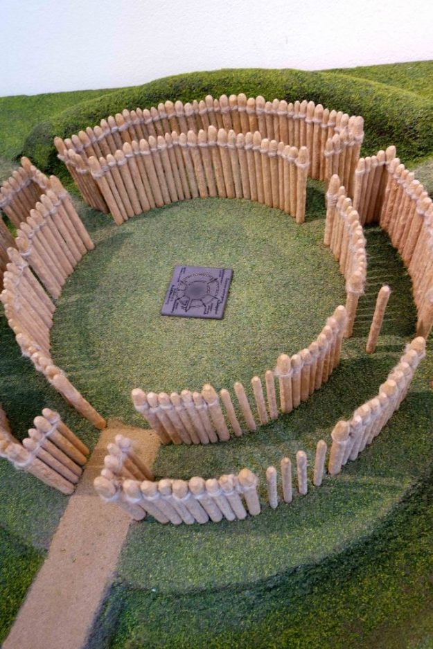 Model from the museum of how the Goseck circle looks from above