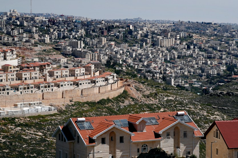 A photo taken on April 12, 2019 shows a part of the Israeli settlement of Efrat situated on the southern outskirts of the occupied West Bank city of Bethlehem