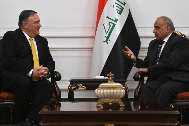 US Secretary of State Mike Pompeo meets with Iraqi Prime Minister Adel Abdul-Mahdi in Baghdad, Iraq on 9 January (Reuters)