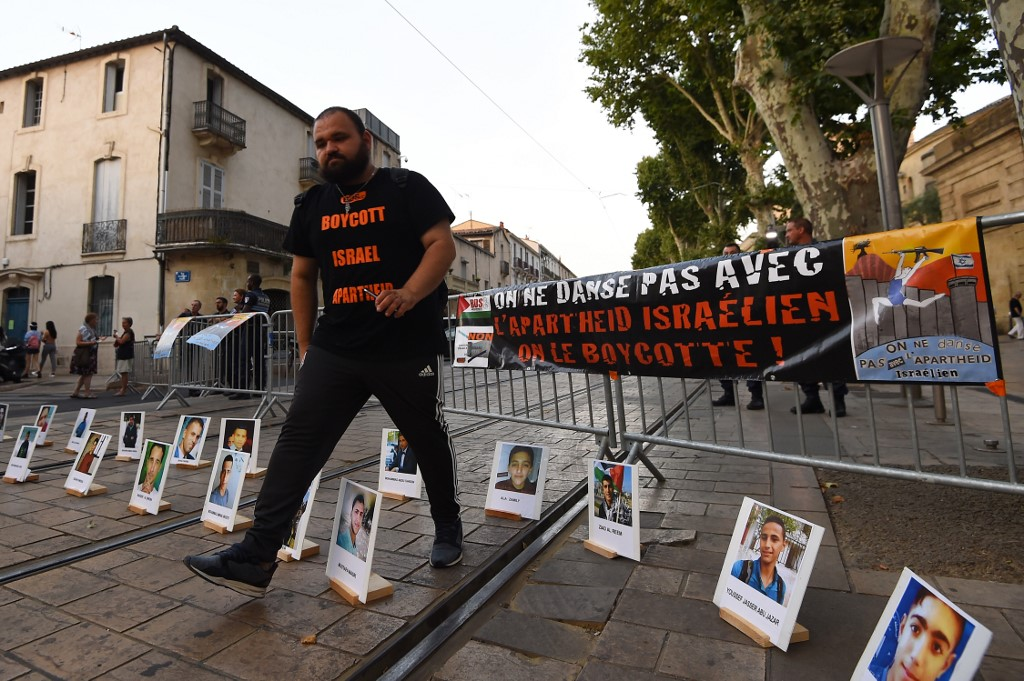 Aman attends a BDS rally in southern France in June 2018 (AFP)