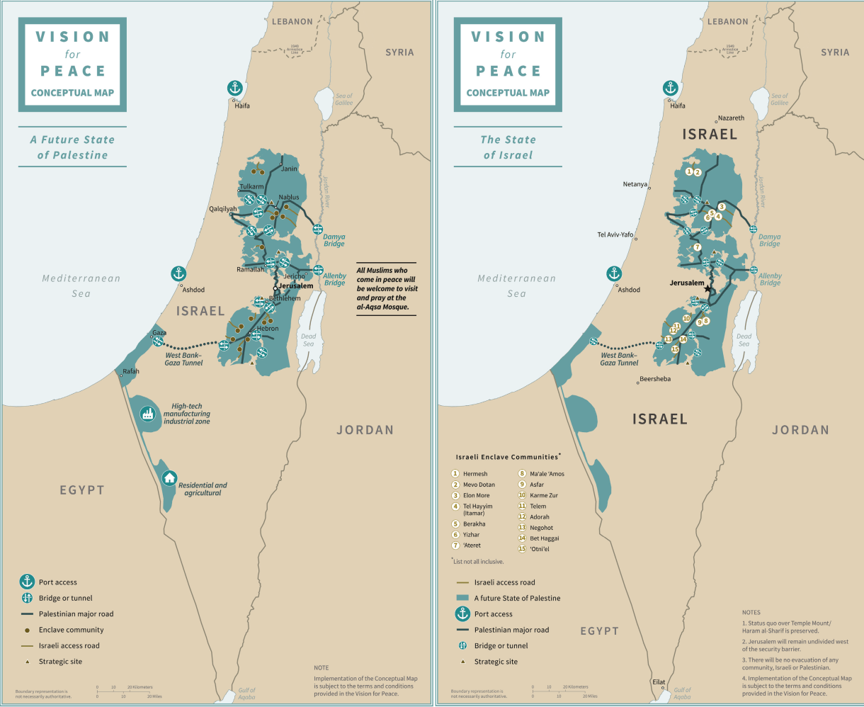 This map shows how the Trump plan would carve up the Palestinian territories