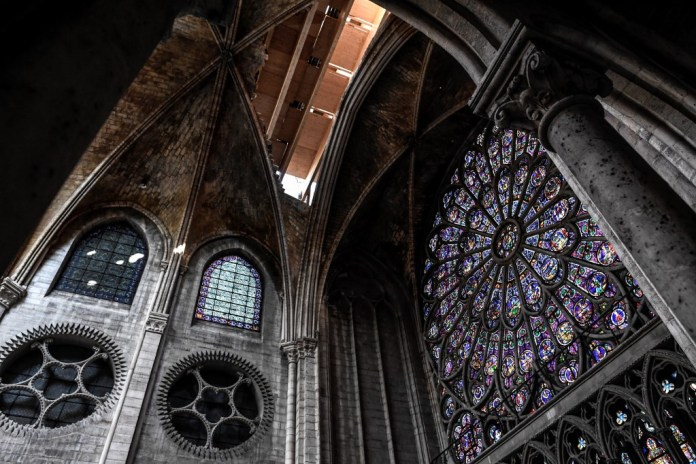 The rosette is seen during works at Notre-Dame in July 2019 (AFP)