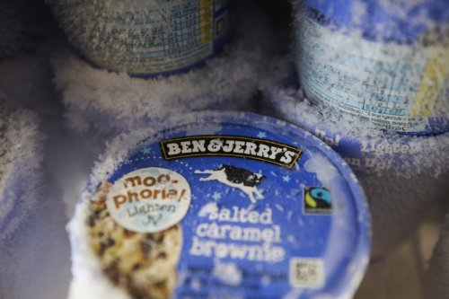 Tubs of Ben and Jerry's ice cream, manufactured by Unilever Plc, in a freezer at a Morrisons supermarket, operated by Wm Morrison Supermarkets Plc, in Saint Ives, U.K., on Wednesday, Aug. 19, 2020. Morrison shares rose after the U.K. grocer and Amazon.com Inc. said customers can now do their full Morrisons food shop on Amazon.co.uk. Photographer: Chris Ratcliffe/Bloomberg via Getty Images