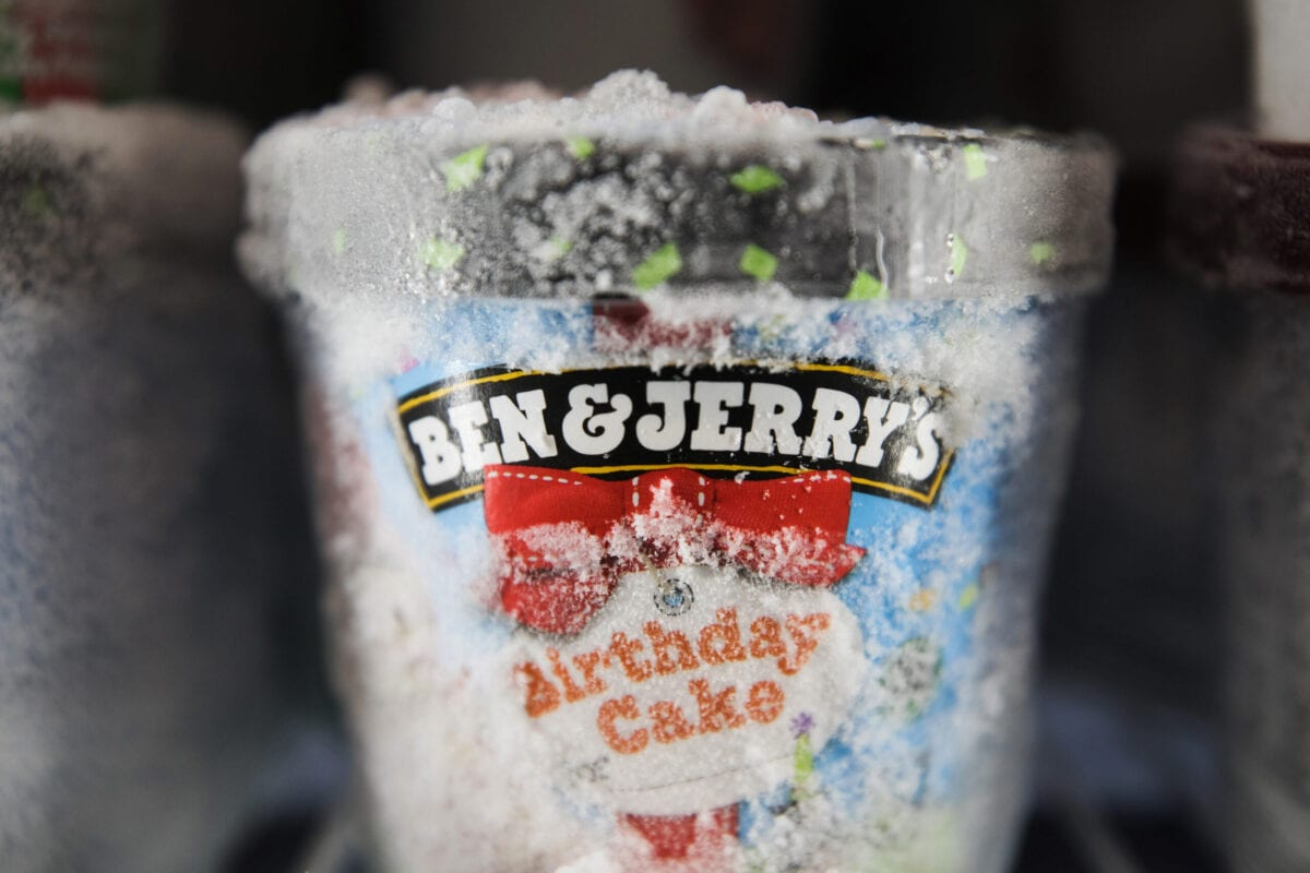 A tub of Ben and Jerry's ice cream, manufactured by Unilever Plc, in a freezer at a Morrisons supermarket, operated by Wm Morrison Supermarkets Plc, in Saint Ives, U.K., on Wednesday, Aug. 19, 2020. Morrison shares rose after the U.K. grocer and Amazon.com Inc. said customers can now do their full Morrisons food shop on Amazon.co.uk. Photographer: Chris Ratcliffe/Bloomberg via Getty Images