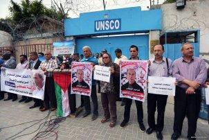 Palestinian Journalists Protest Imprisonment Gaza Press