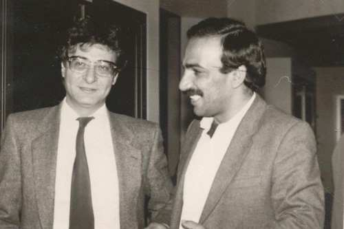 Mahmoud Darwish (L) and Adnan Al- Sayegh.