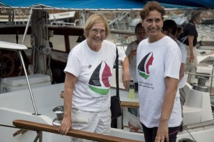 "BARCELONA, SPAIN - SEPTEMBER 14: Activists Ann Wright (L), member of the crew of Amal-Hope and Zaytouna-Oliva, with only female activists on board, poses before set off for the Gaza Strip from the port of Barcelona under the banner ""The Women's Boat to Gaza"" to break the Israeli blockade on Gaza on September 14, 2016 in Barcelona, Spain. ( Albert Llop - Anadolu Agency )"