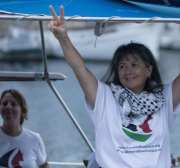 "BARCELONA, SPAIN - SEPTEMBER 14: Activists of Two sailing boats, Amal-Hope and Zaytouna-Oliva, with only female activists on board, make preparations before set off for the Gaza Strip from the port of Barcelona under the banner ""The Women's Boat to Gaza"" to break the Israeli blockade on Gaza on September 14, 2016 in Barcelona, Spain. ( Albert Llop - Anadolu Agency )"