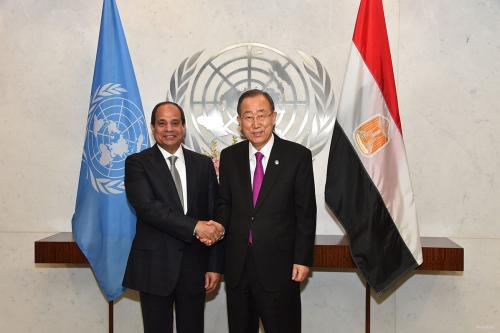President of Egypt Abdul Fatah al Sisi (L) meets United Nations Secretary General Ban Ki Moon (L) during the 71st United Nations General Assembly in New York, United States on September 19, 2016. in New York, USA on September 19, 2016.
