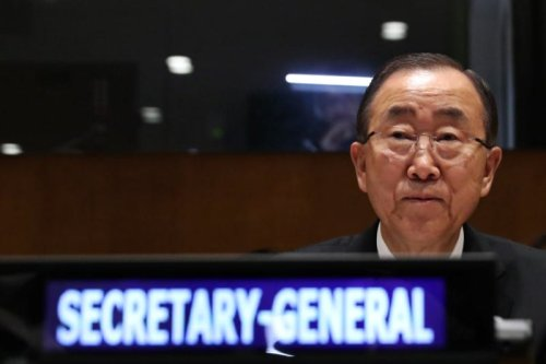 United Nations Secretary-General Ban Ki-moon sits before Fortieth Annual Meeting of Ministers for Foreign Affairs of the Group of 77 ECOSOC at the 71st Session of the United Nations General Assembly in Manhattan, New York, US, 23 September 2016. [REUTERS/Andrew Kelly]
