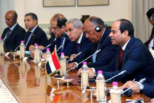 Egyptian President Abdel Fattah al-Sisi and his delegation meet with Indian Prime Minister Narendra Modi [not seen] at Hyderabad House in New Delhi on September 2, 2016