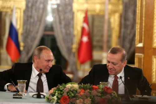 President of Turkey Recep Tayyip Erdogan (R) and President of Russia Vladimir Putin (L) hold a press conference following their meeting at Mabeyn Palace in Istanbul, Turkey on October 10, 2016. ( Metin Pala - Anadolu Agency )