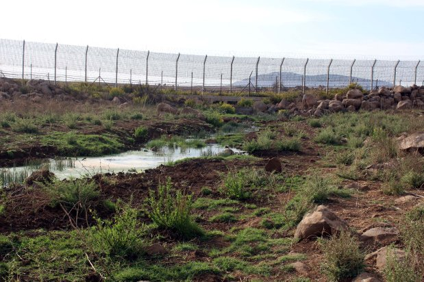 Polluted areas due to the Israeli sewage are seen in Golan Heights on October 25, 2016. It is reported that thousands of hectares lands are in danger of pollution as the northern and western sides of opposition-controlled district Quneitra district are submerged by Israeli polluted waters. [Anadolu Agency/Faruk Al Ahmed]