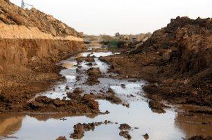 GOLAN HEIGHTS: Polluted areas due to the Israeli sewage are seen in Golan Heights on October 25, 2016. It is reported that thousands of hectares lands are in danger of pollution as the northern and western sides of opposition-controlled district Quneitra district are submerged by Israeli polluted waters. [Anadolu Agency/Faruk Al Ahmed]