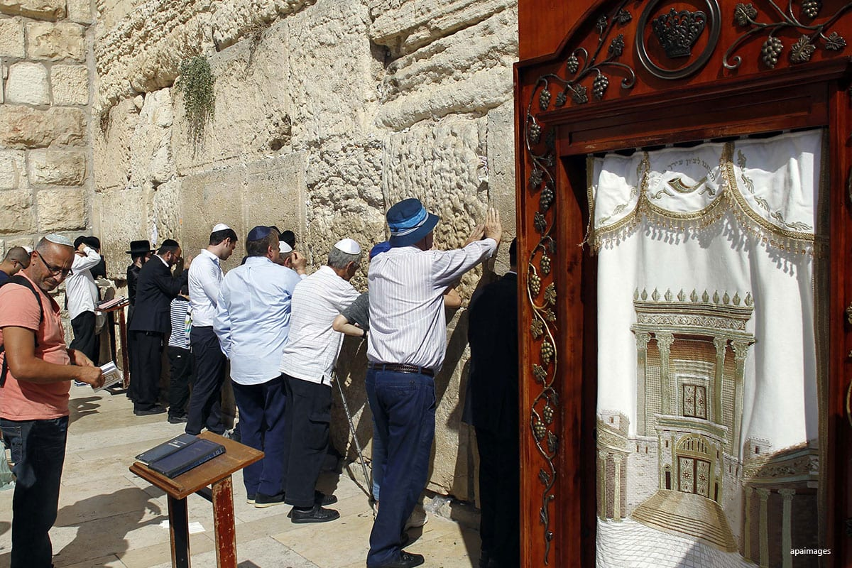 Image of Israeli Jews at the visiting the Western Wall in Jerusalem [Apaimages]