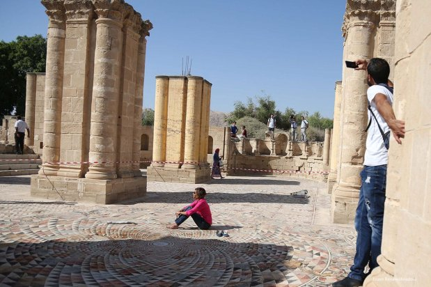 People visit the historical Umayyad Palace which is the largest ancient mosaic in Middle East. 20th October 2016 [Issam Rimawi/Anadolu]