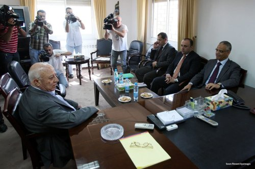 Palestinian Ahmed Qorei head of the Fatah delegation talks with Hamas [Issam Rimawi/Apaimages]
