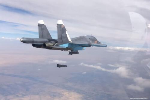 A Russian Sukhoi Su-34 striking an enemy position in Aleppo, Syria [Mil.ru/Middle East Monitor]