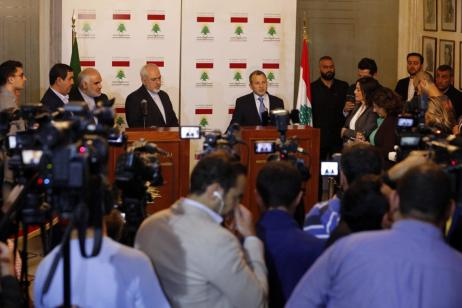 BEIRUT, LEBANON - NOVEMBER 07: Lebanese Foreign Minister Gebran Bassil (right) and Iranian Minister of Foreign Affairs, Mohammad Javad Zarif (left) hold a joint press conference after their meeting in Beirut, Lebanon on November 07, 2016. ( Ratib Al Safadi - Anadolu Agency )