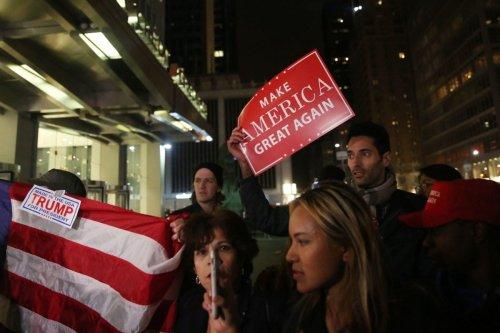 Supporters of President-elect Donald Trump in New York, US on November 9, 2016 [Mohammed Elshamy / Anadolu Agency]