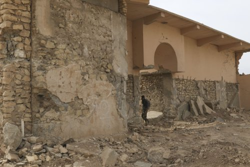 Wreckage of the historical works destroyed by Daesh in Nimrud on November 16 2016 [İdris Okuducu/Anadolu Agency]