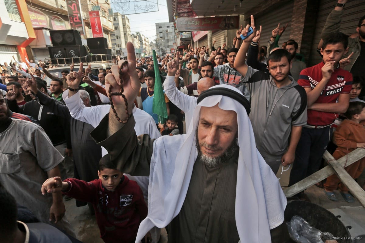 People protest in Gaza against the new Israeli law to ban the Islamic call to prayer in Jerusalem [apaimages]