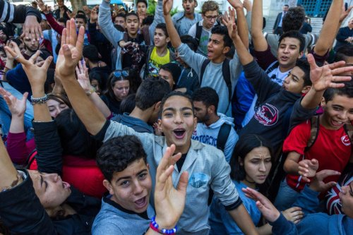 Tunisian students take part in a protest against new exam system at the Habib Bourguiba street in Tunis, Tunisia on 21 November 2016 [Amine Landoulsi/Anadolu Agency]