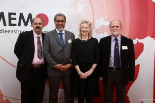 The trustees of the Palestine Book Awards, left to right: Dr Ibrahim Darwish, Dr Daud Abdullah, Victoria Brittain, Dr Azzam Tamimi [Middle East Monitor]