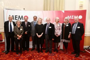 The judges and trustees of the Palestine Book Awards, left to right: Dr Faysal Mikdadi, Haifa Zangana, Dr Ibrahim Darwish, Dr Daud Abdullah, Victoria Brittain, Dr Azzam Tamimi, Marjorie Mayo, Judith Laurance and Alan Waddams [Middle East Monitor]