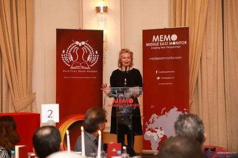 Victoria Brittain, a trustee of the Palestine Book Awards, addresses the audience at the 2016 Awards Ceremony [Middle East Monitor]