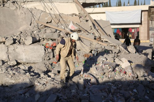 Debris of collapsed buildings after the Syrian and Russian armies carried out airstrikes in Aleppo Syria on November 23 2016 [Ibrahim Ebu Leys / Anadolu Agency]