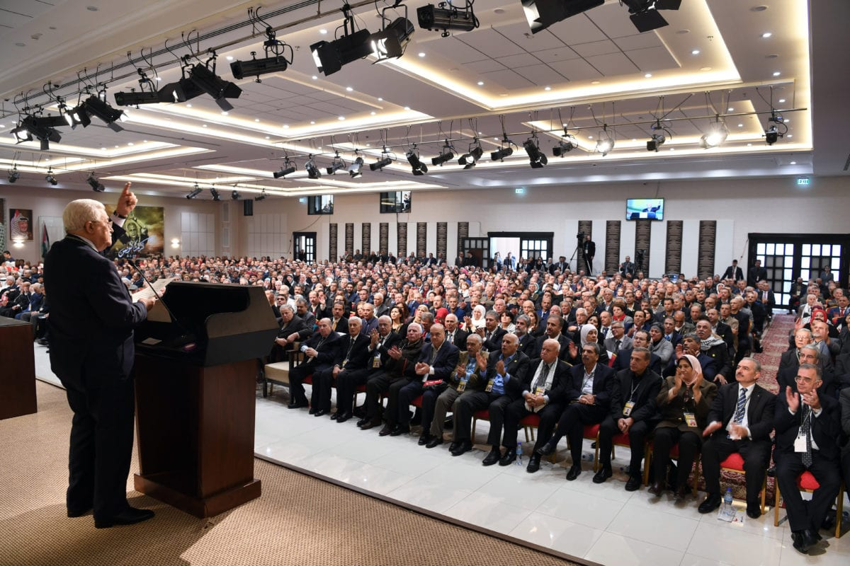 Palestinian President Mahmoud Abbas delivers a speech during the 7th General Assembly meeting of Fatah Movement at Palestinian Prime Ministry office Mukataa in Ramallah, West Bank on November 29 2016 [Palestinian Presidency / Handout/Anadolu Agency