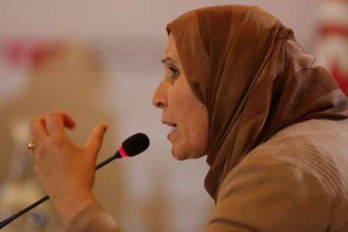 Basma Balie at a hearing of Tunisia's Truth and Dignity Commission