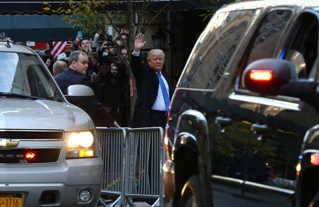 NEW YORK, NY: Donald Trump arrives to vote at the Beckman Hill International School in New York City on 8 November 2016. [Volkan Furuncu/Anadolu Agency]