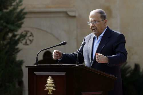 President of Lebanon Michel Aoun delivers a speech in Beirut, Lebanon on 6 November 2016. [Ratib Al Safadi/Anadolu Agency]