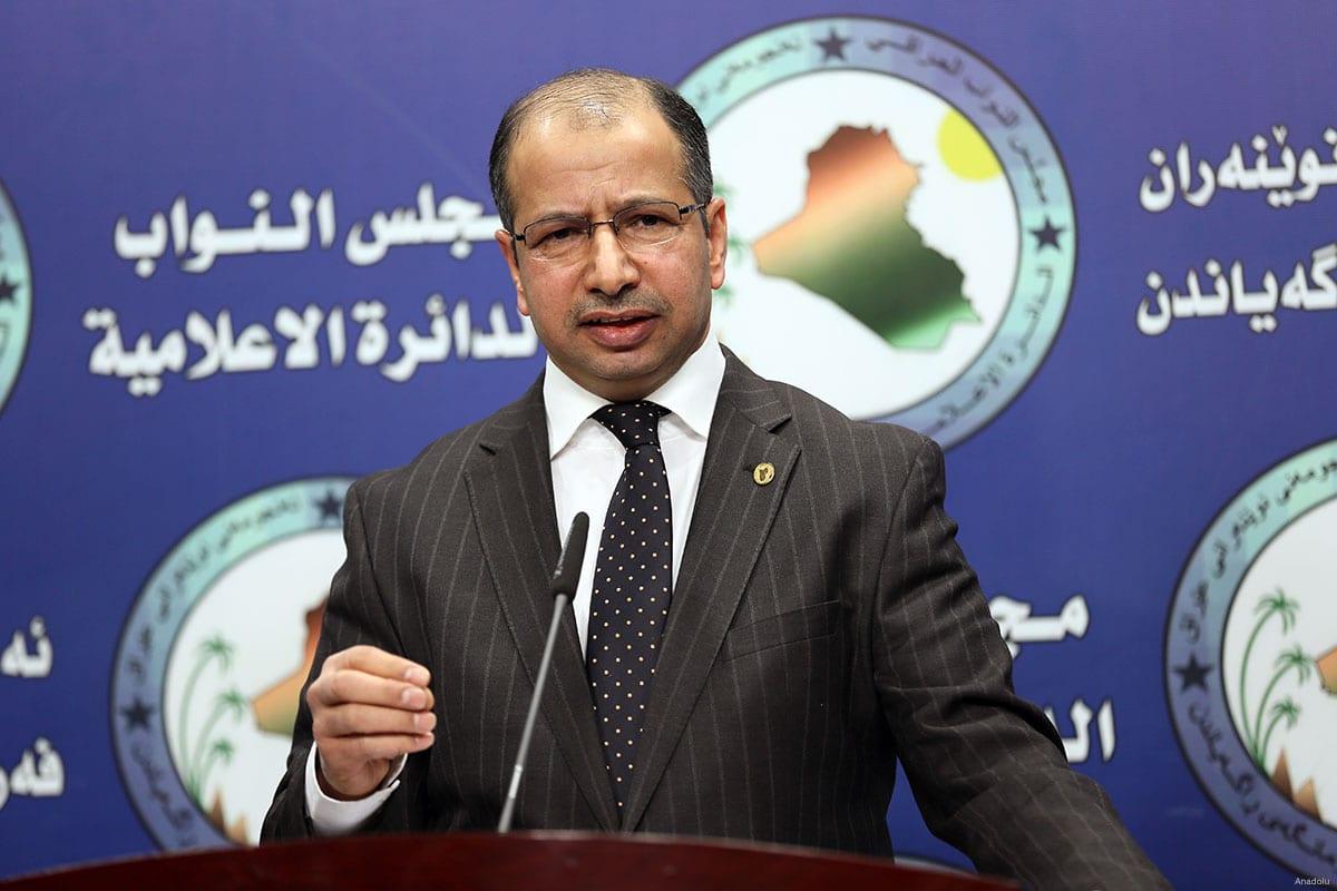 Speaker of the Iraqi Parliament, Salim al-Jabouri delivers a speech during a press conference in Baghdad, Iraq on November 26, 2016 [Murtadha Sudani / Anadolu]