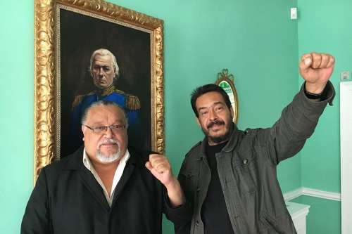 (L) Wills Rangel, the President of Venezuela's largest trade union 'central' the Bolivarian Socialist Union of Workers (CBST). (R) Jacobo Torres, the CBST's International Officer
