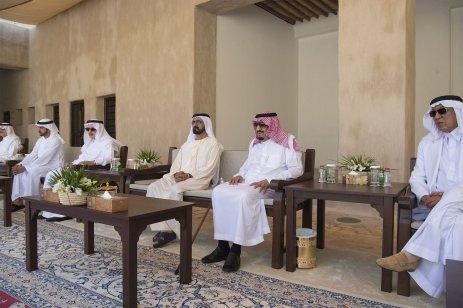 DUBAI, UAE - DECEMBER 5: King of Saudi Arabia Salman bin Abdulaziz (2nd R) visits Sheikh Saeed Al Maktoum House with Vice President of the United Arab Emirates Mohammed bin Rashid Al Maktoum (3rd R) in Dubai, United Arab Emirates on December 5, 2016. ( Bandar Algaloud/ Saudi Kingdom/ Handout - Anadolu Agency )