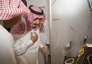 DUBAI, UAE - DECEMBER 5: King of Saudi Arabia Salman bin Abdulaziz (R) visits Sheikh Saeed Al Maktoum House in Dubai, United Arab Emirates on December 5, 2016. ( Bandar Algaloud/ Saudi Kingdom/ Handout - Anadolu Agency )