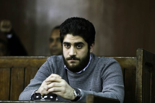 Abdullah Morsi, the son of ousted Egyptian president Mohamed Morsi is seen during the trial over the breaking up the Rabaa Al-Adawiyyah protests, at the police academy in Cairo, Egypt on December 10, 2016 [Moustafa Elshemy / Anadolu Agency]