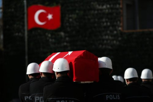 Funeral ceremony held for the casualties of Istanbul terror attacks at Istanbul Police Department headquarters in Istanbul, Turkey on December 11, 2016 [Arif Hüdaverdi Yaman / Anadolu Agency]