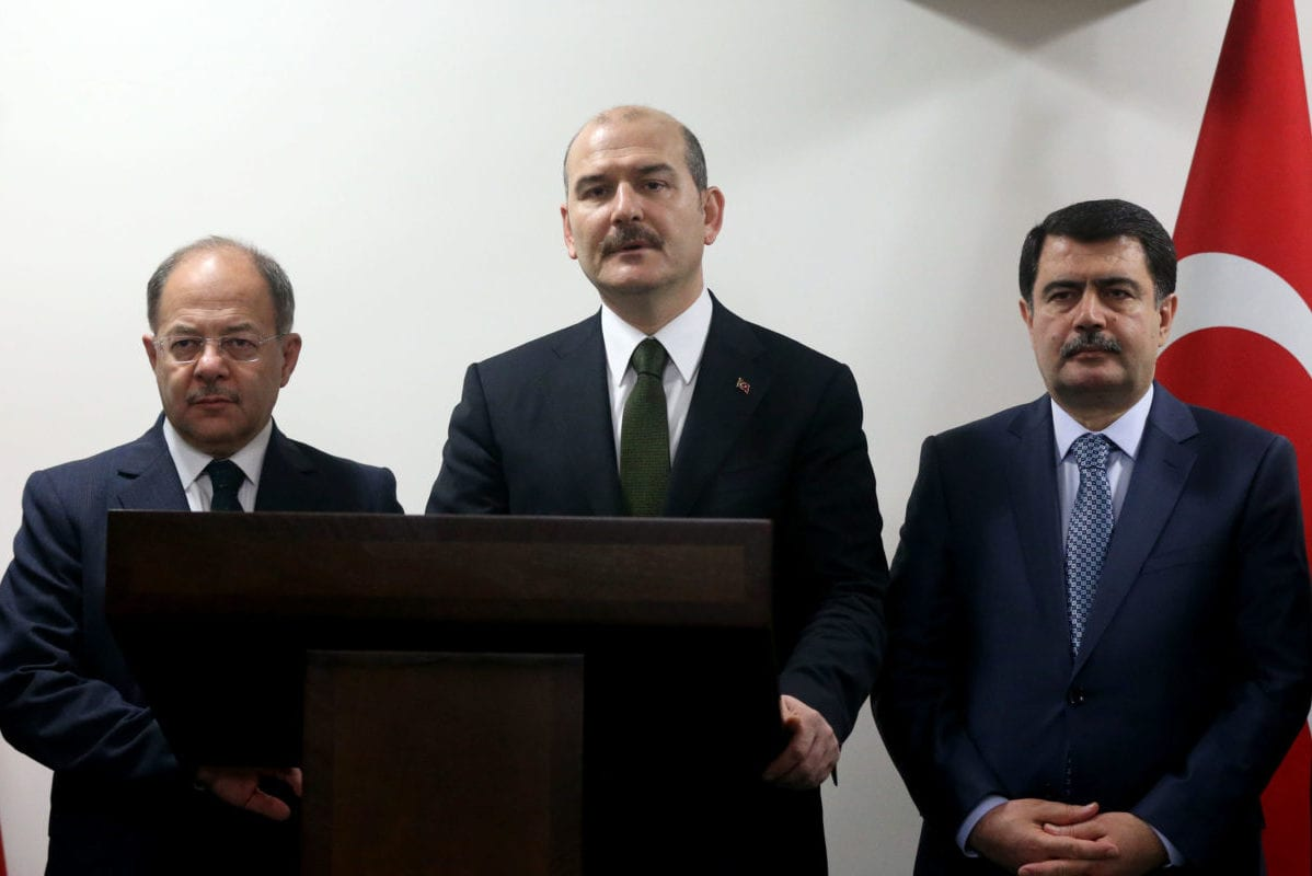 Turkish Interior Minister Suleyman Soylu (C) accompanied by Health Minister Recep Akdag (L) and Istanbul Governor Vasip Sahin (R) speaks to media during a press conference on Istanbul terror attacks in Istanbul, Turkey on December 11, 2016 [İslam Yakut / Anadolu Agency]