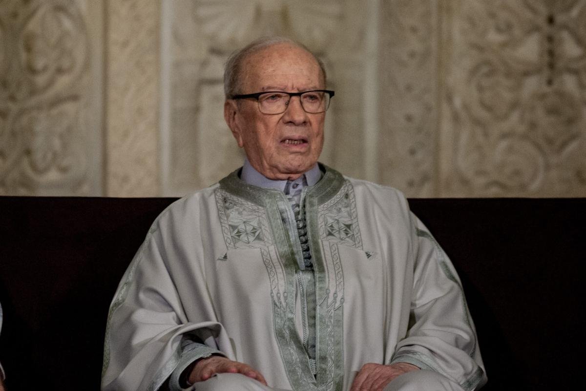 Image of Tunisian President Beji Caid Essebsi in Kairouan, Tunisia on December 11, 2016. (Amine Landoulsi - Anadolu Agency )