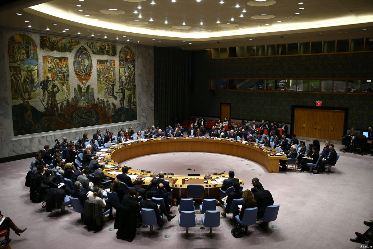 Image of the UN Security Council resolution that called Israel to stop settlement activities on Palestinian territories on December 23 2016 [Volkan Furuncu / Anadolu Agency]