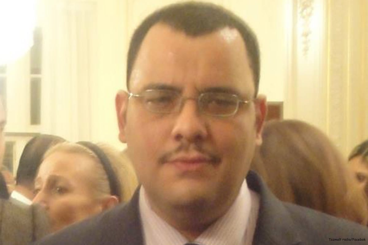 Image of the British-Algerian journalist Mohamed Tamalt in Bab El-Oued [Tazmalt radio/Facebok]