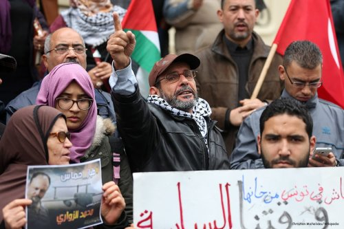 People gather during a demonstration, in support of the investigation the murder case of Mohamed Zaouari at Habib Bourgiba on December 18 2016 [Christian Michelides/Wikipedia]